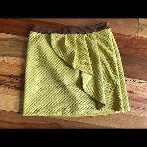 Yellow pleated Anthropologie skirt